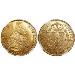 Potosi, Bolivia, bust 4 escudos, Charles IV, 1791PR, laureate bust (very rare), encapsulated NGC AU