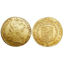 Santiago, Chile, bust 8 escudos, Charles III (young bust), 1769A, rare.
