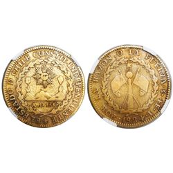 Santiago, Chile, 4 escudos, 1824I, encapsulated NGC F 12, ex-Newman (stated inside slab).