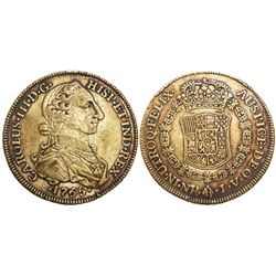 Bogota, Colombia, bust 8 escudos, Charles III (young bust), 1765JV.