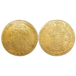 Bogota, Colombia, bust 8 escudos, Charles IV, 1802JJ.