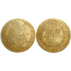 Bogota, Colombia, bust 8 escudos, Ferdinand VII (bust of Charles IV), 1817JF, small 8, no dot after