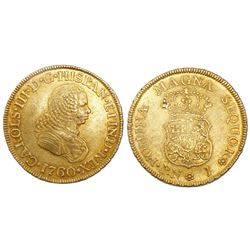 Popayan, Colombia, bust 2 escudos, Charles III (bust of Ferdinand VI), 1760J.