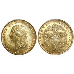 Bogota, Colombia, (10 pesos), 1857, encapsulated NGC MS 62.
