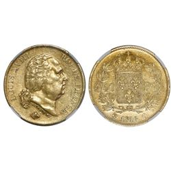 France (Narbonne mint), 40 francs, Louis XVIII, 1816-Q, encapsulated NGC AU 55.