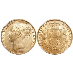 Great Britain (London, England), sovereign, Victoria (young head), 1857, from the SS Pewabic (1865),