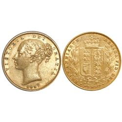 Great Britain (London, England), sovereign, Victoria (young head), 1857.