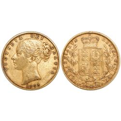 Great Britain (London, England), sovereign, Victoria (young head), 1863.
