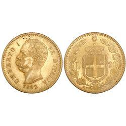 Italy (Kingdom), 20 lire, Umberto I, 1882.