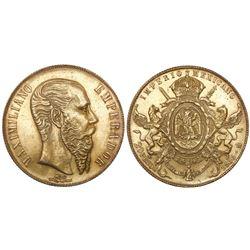 Mexico City, Mexico, 20 pesos, Maximilian, 1866.