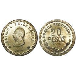 Oaxaca, Mexico, provisional 20 pesos, 1915TM.