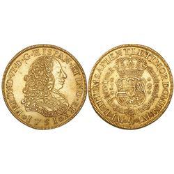 Lima, Peru, bust 8 escudos, Ferdinand VI, 1751J, from the Luz (1752), ex-Castells.