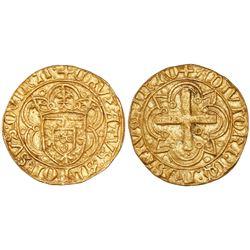 Lisbon, Portugal, cruzado, Afonso V (1438-81, struck 1457-81), legends CRVZATVS … QVINTI / ADIVTORIV