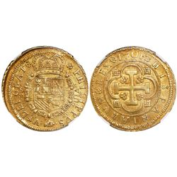 Seville, Spain, milled 8 escudos, Philip V, 1701M, S-M to left and VIII to right of shield, flower a