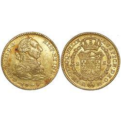Madrid, Spain, bust 2 escudos, Charles III, 1779/8PJ.
