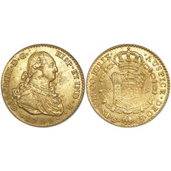 Seville, Spain, bust 2 escudos, Charles IV, 1799CN.