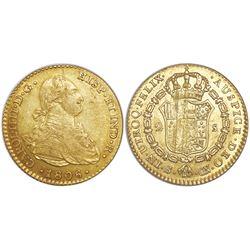 Seville, Spain, bust 2 escudos, Charles IV, 1806CN.