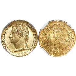 Madrid, Spain, 80 reales de vellon, Joseph Napoleon, 1812/1AI, rare, encapsulated NGC AU 58.