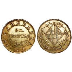 Barcelona, Spain, 20 pesetas, 1812.