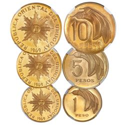 Three-coin set of Uruguay (struck in Santiago) proof patterns of 1969, all encapsulated NGC PR 65 Ul