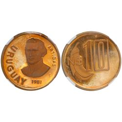 Uruguay (struck in Santiago), proof 10 new pesos, 1981, encapsulated NGC PR 64 Ultra Cameo.