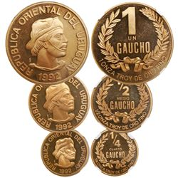 Uruguay (struck in Santiago), 3-coin set of proof 1 gaucho, 1/2 gaucho and 1/4 gaucho, 1992, all enc