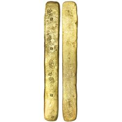 Complete gold  strap  ingot for making oro corriente pieces, marked five times with circular tax sta