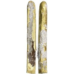 "Gold ""finger"" bar, 713 grams, marked with fineness XVI• (16.25K), encrusted with coral as from the """