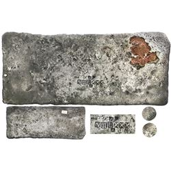 Silver  tumbaga  bar #M-61, 2119 grams, marked with fineness IV III L XXX (1380/2400) and two tax st