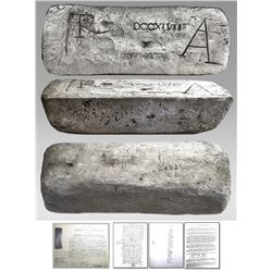 Large silver bar #451, 82 lb 7.36 oz troy, Class Factor 1.0, manifest #747, fineness 2380/2400, date