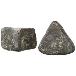 """Contraband silver """"wedge"""" ingot, 968 grams, from the 1715 Fleet."""