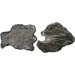 Lot of 2 very small silver  splash  ingots, 189 grams total, from the 1733 Fleet.