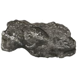 """Silver """"plata corriente"""" cut piece of a """"splash"""" ingot, marked with one tax stamp, 47.62 grams."""