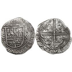 Valladolid, Spain, cob 8 reales, Philip II, assayer oA to right, denomination 8, rare.