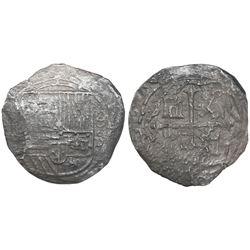 Mexico City, Mexico, cob 8 reales, Philip II, assayer (F)-oD, rare.