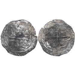 Mexico City, Mexico, cob 4 reales, Philip II, assayer (F)-oD, rare.