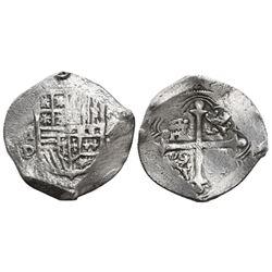Mexico City, Mexico, cob 4 reales, Philip III, assayer D, Grade 1.