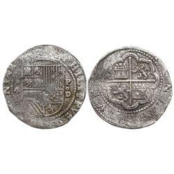 Lima, Peru, cob 4 reales, Philip II, assayer Diego de la Torre, *-4 to left, P-oD to right, Grade 1,