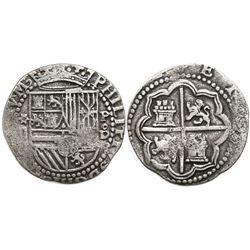 Lima, Peru, cob 2 reales, Philip II, assayer Diego de la Torre, *-ii to left, P-oD to right, Grade 1
