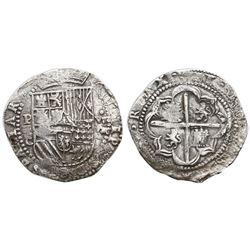 Potosi, Bolivia, cob 8 reales, Philip II, assayer C under erasure, very rare, Grade 1, ex-Research C