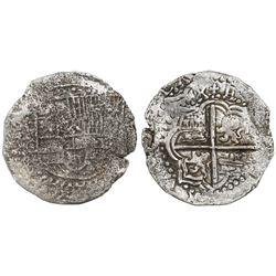 Potosi, Bolivia, cob 8 reales, Philip III, assayer C (rare), Grade-2 or -3 quality but certificate m