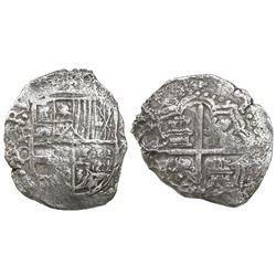 Potosi, Bolivia, cob 8 reales, Philip III, assayer C (rare), Grade-3 quality but certificate missing