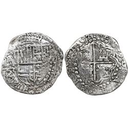Potosi, Bolivia, cob 8 reales, 1621T, upper half of shield and quadrants of cross transposed, Grade