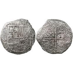 Potosi, Bolivia, cob 8 reales, (16)21T, quadrants of cross transposed, Grade 2.