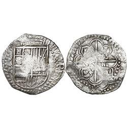Potosi, Bolivia, cob 8 reales, Philip III, assayer T, Grade 1, certificate missing.