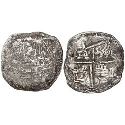 Potosi, Bolivia, cob 8 reales, Philip III, assayer not visible, Grade-2 quality but Grade 3 on certi