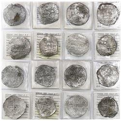 Lot of 8 Potosi, Bolivia, cob 8 reales, Philip III, various assayers (where visible), all Grade 2 (o
