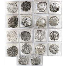 Lot of 9 Potosi, Bolivia, cob 8 reales, Philip III, assayers Q, T and not visible, all Grade 2.