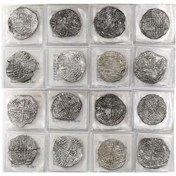 Lot of 8 Potosi, Bolivia, cob 8 reales, Philip III, various assayers (where visible), Grade-2 or -3