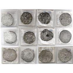 Lot of 6 Potosi, Bolivia, cob 8 reales, Philip III, assayers R, Q, T and not visible, all Grade 3, o
